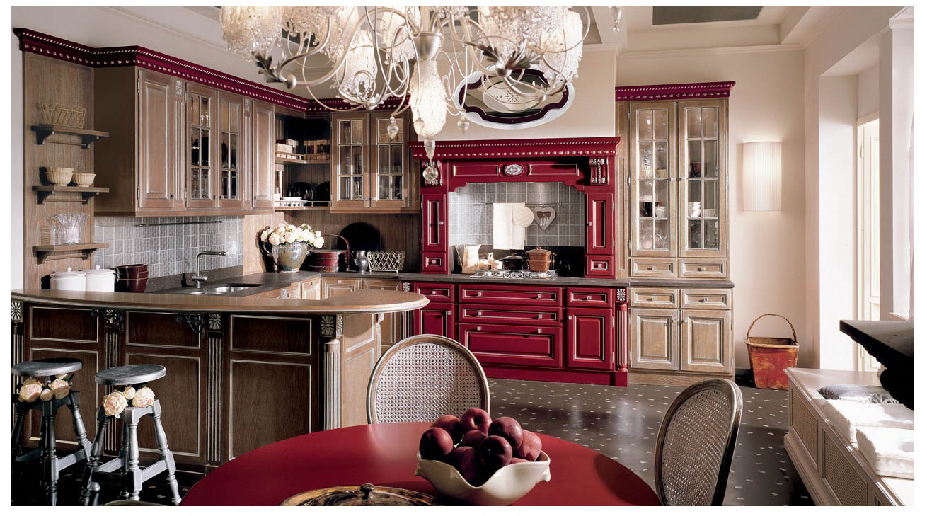 italian kitchen red rose